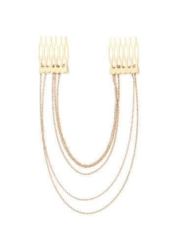 Layered Chains Comb Headpiece Gold Tone HA09 Hair Fashion Accessory Jewelry