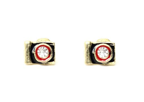 Camera Earrings Vintage Crystal Black Enamel EC29 Photography Studs Fashion Jewelry