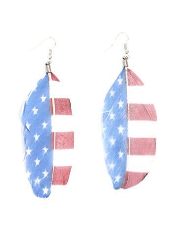 American Flag Feather Earrings USA United States Red White Blue EH50 Fashion Jewelry