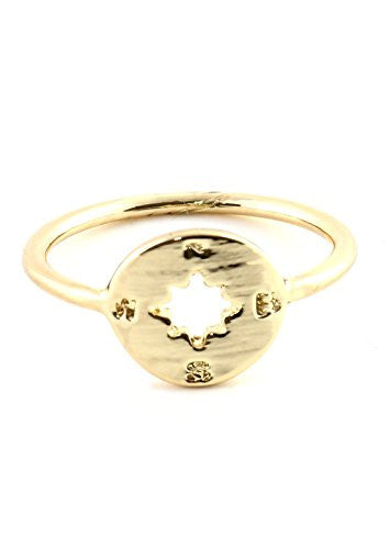 Atlas Compass Ring Gold Tone Map RM08 Cardinal Directions Statement Fashion Jewelry
