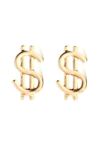 Dollar Sign Earrings Gold Tone Money Bling Wealth Studs EA20 Fashion Jewelry