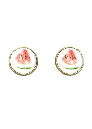 Watermelon Stud Earrings Vintage Art Gold Tone Posts EF67 Fashion Jewelry