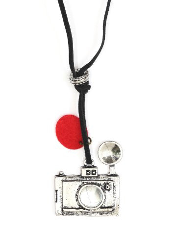 Camera Necklace Silver Tone Pendant Photographer NB10 Vintage Indie Statement Fashion Jewelry