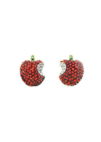 Crystal Apple Stud Earrings Gold Tone Red Teacher Education Posts EH52 Fashion Jewelry