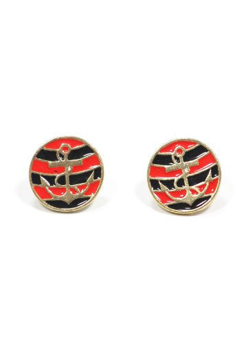Nautical Anchor Stud Earrings Black Red Striped Gold Tone Yacht Sailor Maritime Post EE47 Fashion Jewelry