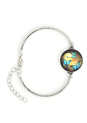 Blue Butterflies Art Bracelet Silver Tone BD48 Nature Fashion Jewelry