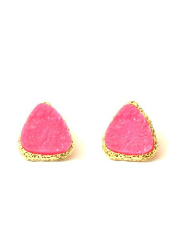 Drusy Crystal Stud Earrings Neon Pink Geode Gold Tone EE43 Posts Fashion Jewelry