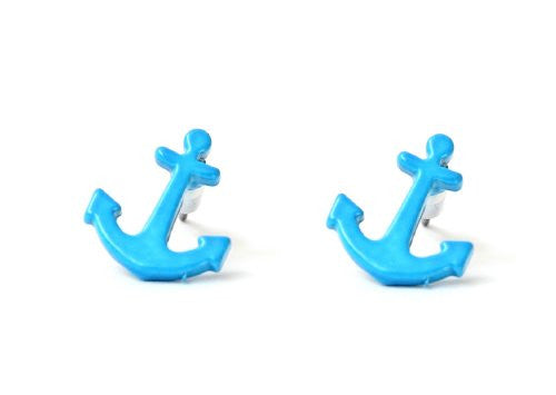 Nautical Anchor Stud Earrings Neon Electric Blue EB28 Yacht Sailor Maritime Post Fashion Jewelry