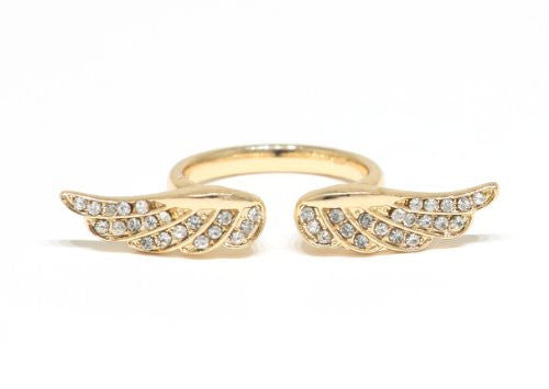 Crystal Angel Wings Ring Size Gold Tone RB34 Fashion Jewelry