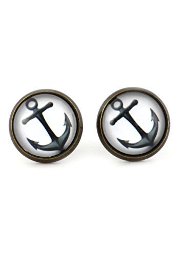 Nautical Anchor Stud Earrings Antique Gold Tone EM45 Maritime Art Posts Fashion Jewelry