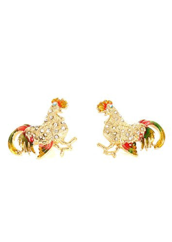Crystal Rooster Earrings Vintage Gold Tone Chicken Bird Posts EF45 Fashion Jewelry