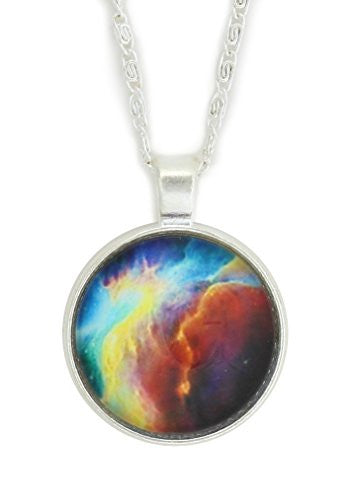 Cosmic Nebula Necklace Silver Tone Outer Space Galaxy Stars Photo NY14 Art Pendant Fashion Jewelry