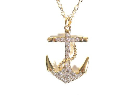 Crystal Anchor Necklace Nautical Sailor NA04 Vintage Retro Charm Pendant Pirate Yacht Fashion Jewelry
