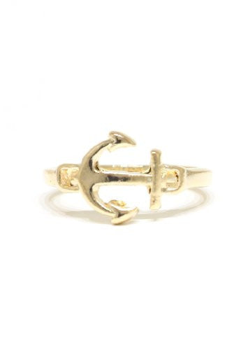 Nautical Anchor Ring Size 6 Gold Tone Maritime Yacht RC45 Statement Fashion Jewelry