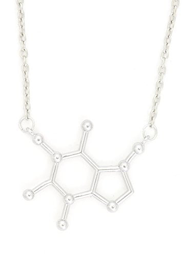 Caffeine Molecule Necklace Silver Tone Coffee Lover Structure Pendant NQ72 Fashion Jewelry