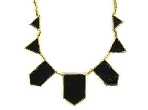Black Enamel Stations Necklace Triangle NC29 Geometric Statement Bib Modern Triangle Fashion Jewelry