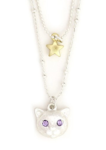 Cat Necklace Silver Tone Pet Kitty Purple Crystal Eyes NS07 Charm Star Pendant Fashion Jewelry