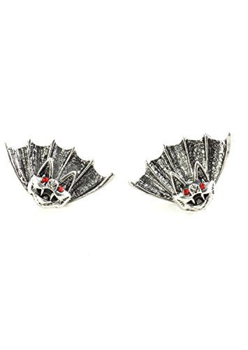 Vampire Bat Stud Earrings Antique Silver Tone Red Crystal Posts Statement EH41 Fashion Jewelry