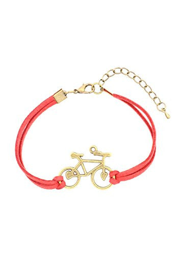 Bicycle Bracelet Antique Gold Tone Red Faux Leather Band Vintage Bike BA57 Fashion Jewelry