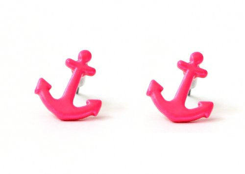Nautical Anchor Stud Earrings Neon Pink Yacht EB26 Sailor Maritime Post Fashion Jewelry