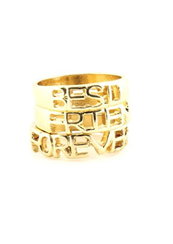 Best Friends Forever Rings Set Gold Tone BFF RK47 Statement Fashion Jewelry