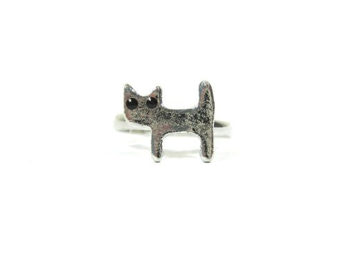 Tiny Cat Ring Size 6.5 Adjustable Dainty Kitten Charm RG08 Silver Tone Kitty Cocktail Fashion Jewelry