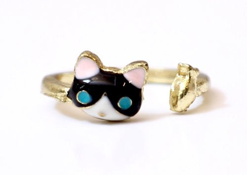 Cat Ring Size 5.5 Gold Tone Blue Kitty Catching Fish RI09 Crystal Fashion Jewelry