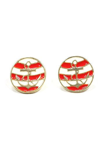 Nautical Anchor Stud Earrings White Red Striped Gold Tone Yacht Sailor Maritime Post EE46 Fashion Jewelry