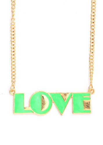Neon Art Deco Love Necklace Green Pendant Statement NJ27 Fashion Jewelry