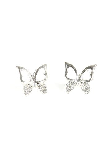 Butterfly Earrings Crystal Silver Tone Posts EF35 Statement Fashion Jewelry
