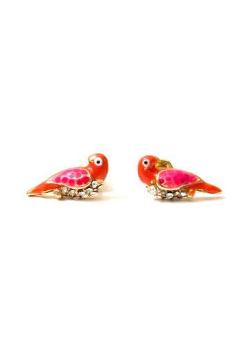Pink Parrot Stud Earrings Crystal Lovebirds Sparrow Dove Bird Posts EA49 Fashion Jewelry