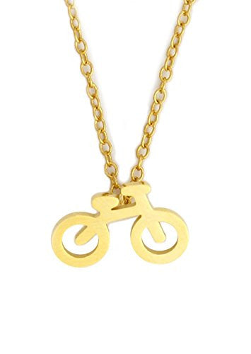 Bicycle Charm Necklace Gold Tone Bike Cyclist Pendant NY26 Fashion Jewelry