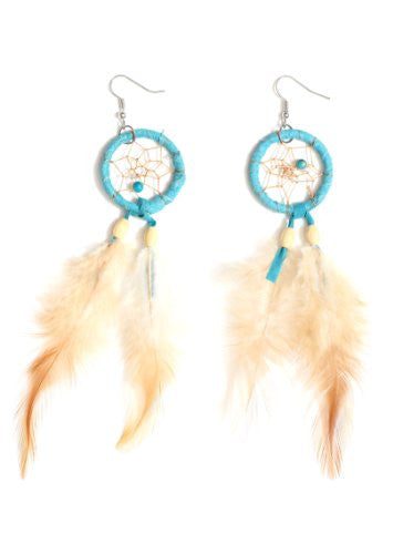 Dreamcatcher Feather Dangle Earrings Beaded Chandelier EB31 Turquoise Blue Fashion Jewelry