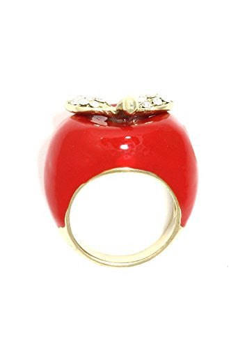 Red Enamel Apple Ring Vintage Gold Tone Crystal RK20 Cocktail Statement Fashion Jewelry