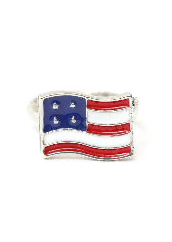 American Flag Ring Adjustable Silver Tone RA21 United States Patriotic USA Statement Fashion Jewelry