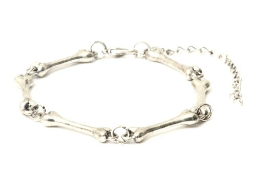 Bones Bracelet Silver Tone Skeleton Charm BA33 Gothic Punk Cuff Statement Bangle Fashion Jewelry