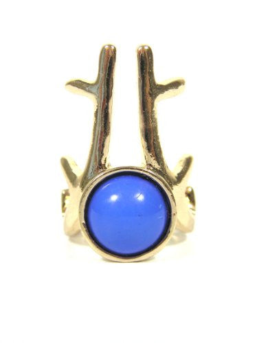 Modern Antlers Cabochon Ring Size 6 Gold Tone Art RE23 Stag Deer Horns Blue Gem Cocktail