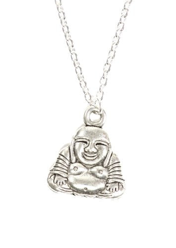 Fat Buddha Necklace Silver Tone Laughing Budai Pendant NP13 Fashion Jewelry