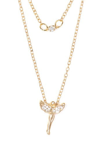 Crystal Angel Necklace Vintage Gold Tone Fairy Charm Pendant NN33 Fashion Jewelry