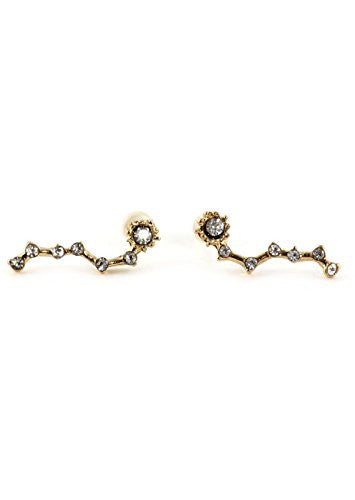 Big Dipper Constellation Stud Earrings Gold Tone EM29 Crystal Outer Space Star Chart Fashion Posts