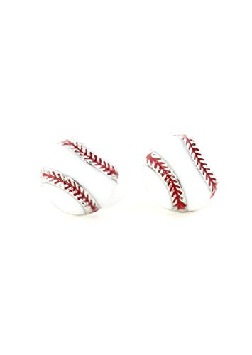 Baseball Stud Earrings Silver Tone Ball Athletics Sports Posts EJ07 Fashion Jewelry