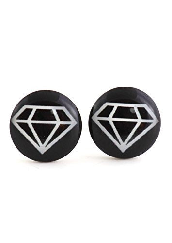 Diamond Gem Shape Stud Earrings Silver Tone EM41 Retro Black White Pop Art Posts Fashion Jewelry