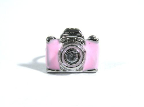 Pink Camera Ring Adjustable Photographer RB40 Vintage Retro Crystal Photo Silver Tone Fashion Jewelry