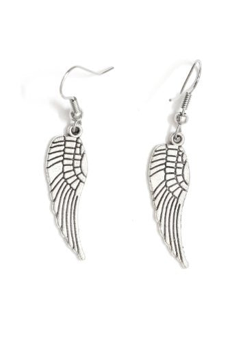 Angel Wing Earrings Dangling Silver Tone Statement EA48 Fashion Jewelry