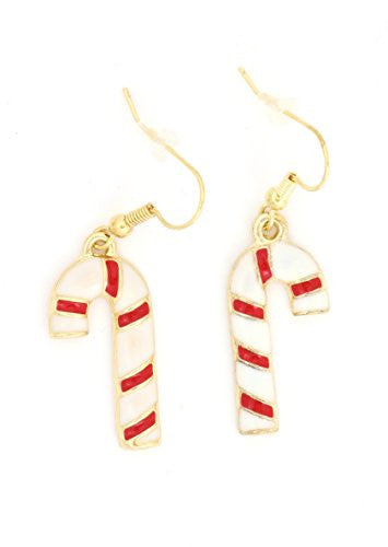 Holiday Candy Cane Dangle Earrings Vintage Gold Tone Red White Enamel EJ13 Fashion Jewelry