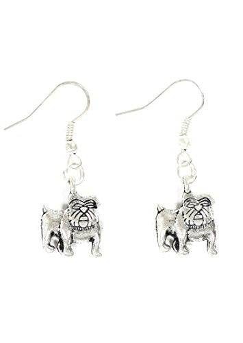 Bulldog Dangle Earrings Silver Tone Pet Dog Charm EG40 Fashion Jewelry
