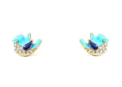 Tweet Stud Earrings Blue Sparrow Bird Dove EB21 Crystal Animal Posts Fashion Jewelry
