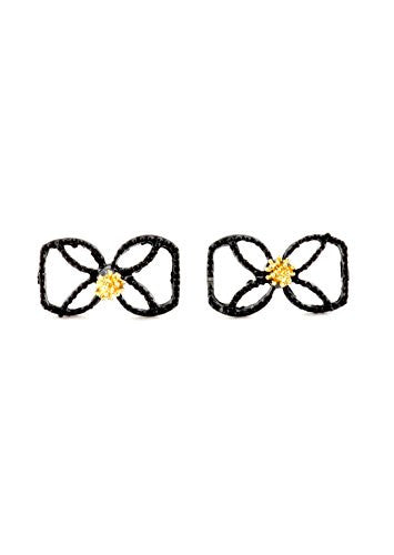 Black Bow Stud Earrings Gold Tone Cage Ribbon Tie Posts Fashion Earrings