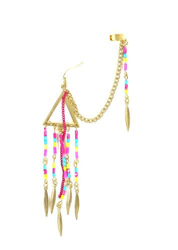 Beaded Tribal Fringe Ear Cuff Gold Tone Metal Wrap Neon Pink CD35 Chandelier Earring Fashion Jewelry