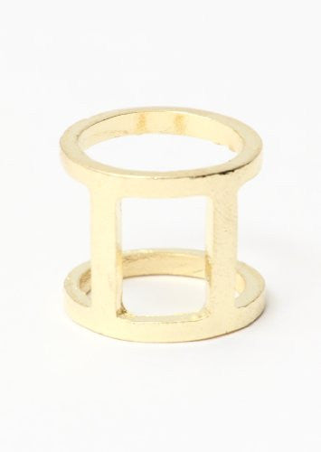 Modern Cage Ring Size 6 Round Geometric Gold Tone RB11 Simple Statement Fashion Jewelry